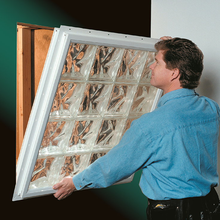 nailing fin vinyl framed new construction glass block window is easy to install