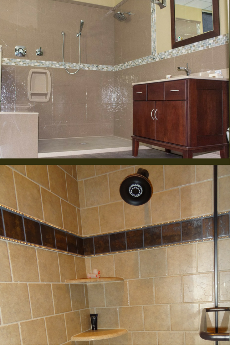Solid surface and tile shower walls