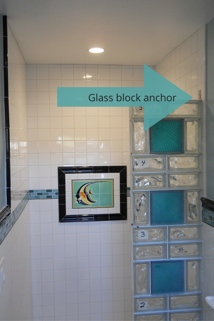 A colored glass block wall in sections anchored on one side