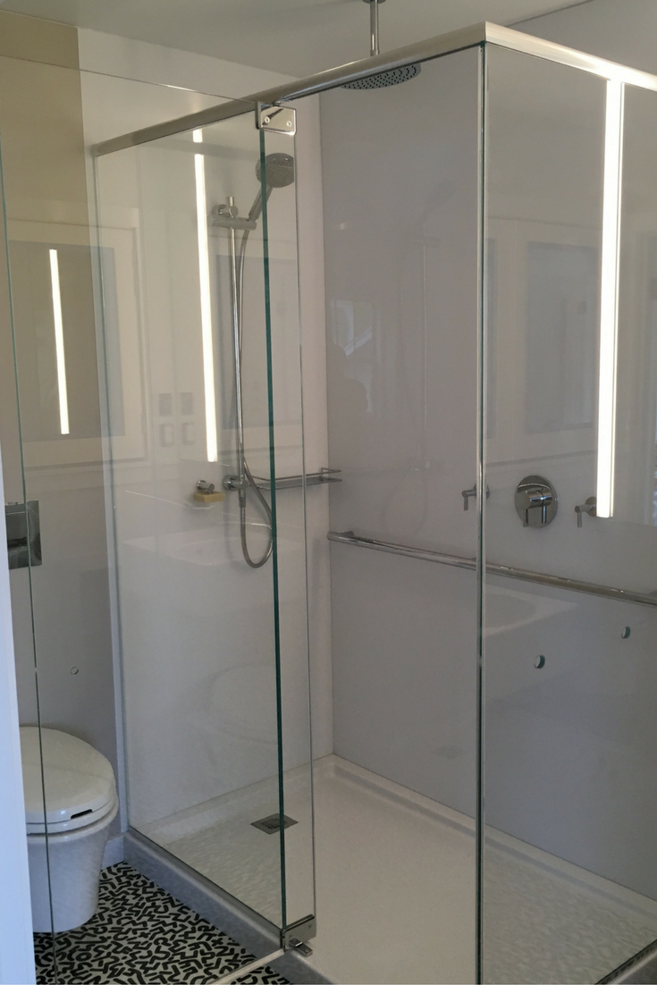 Arctic white high gloss shower wall panels are easy to maintain