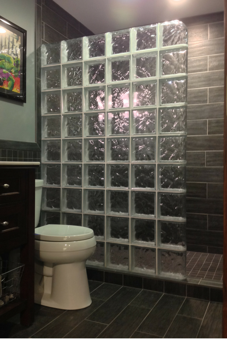 Walk in glass block shower wall without a door in Columbus ohio