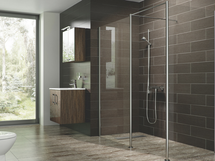 minimalist shower design with a one level shower floor cleveland ohio | Innovate Building Solutions
