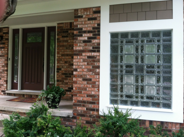 Craftsman inspired glass block garage window with multiple patterns | Innovate Building Solutions