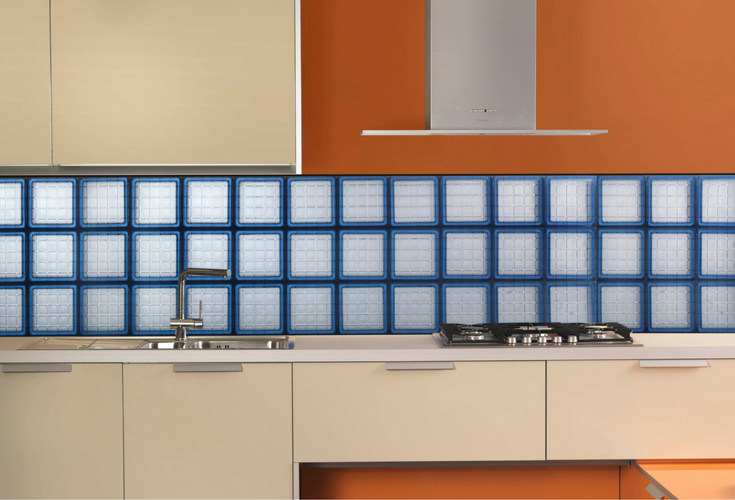 Glass block kitchen backsplash window in a vinyl frame | Innovate Building Solutions