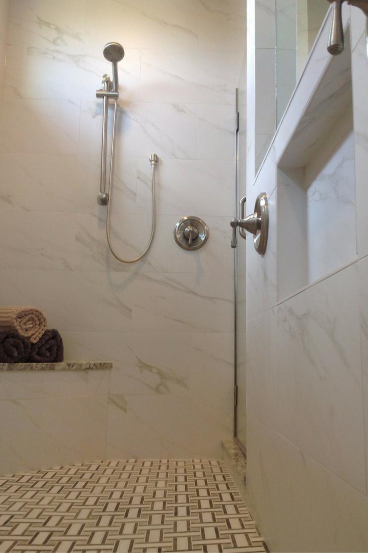 Recessed niche in an upscale shower design in columbus ohio