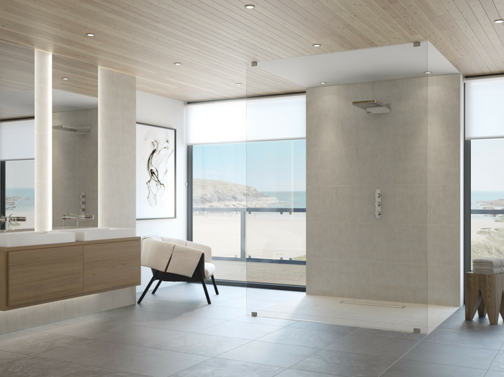 A one level wet room system is a safer alternative to a step over tile shower curb