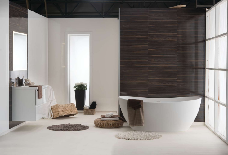 Wood look waterproof laminate bathroom and shower wall panels | Innovate Building Solutions