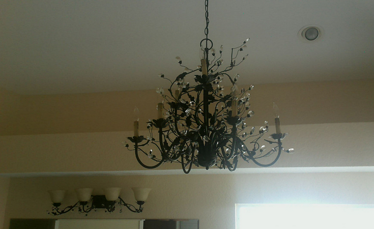 Maxim Elegante series bathroom chandelier in an Orlando Florida remodeling project @InnovateBuild