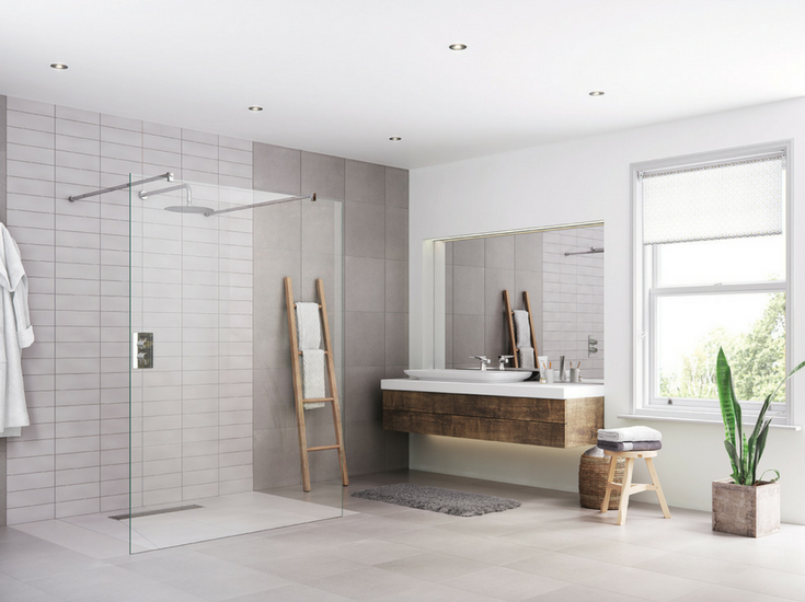 One level wet room system in a contemporary bathroom for easy access @InnovateBuild