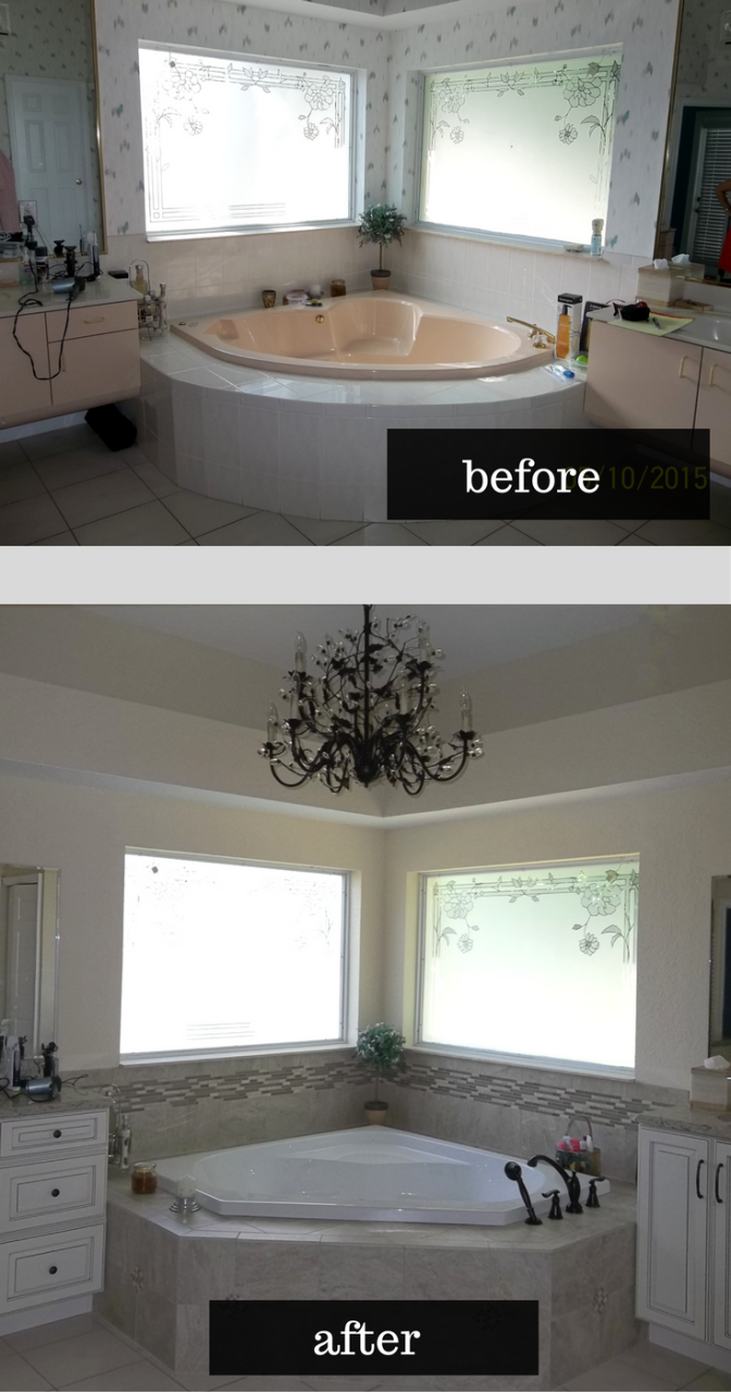 Orlando Home Remodeling Makeover With Patterned And Colored Glass Block Wall