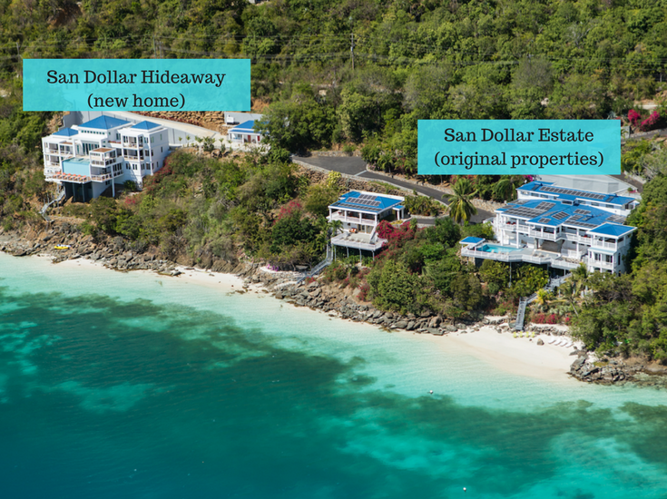 An aerial view of a luxury St. Thomas vacation properties Sand Dollar Hideaway and Sand Dollar Estates - @InnovateBuild