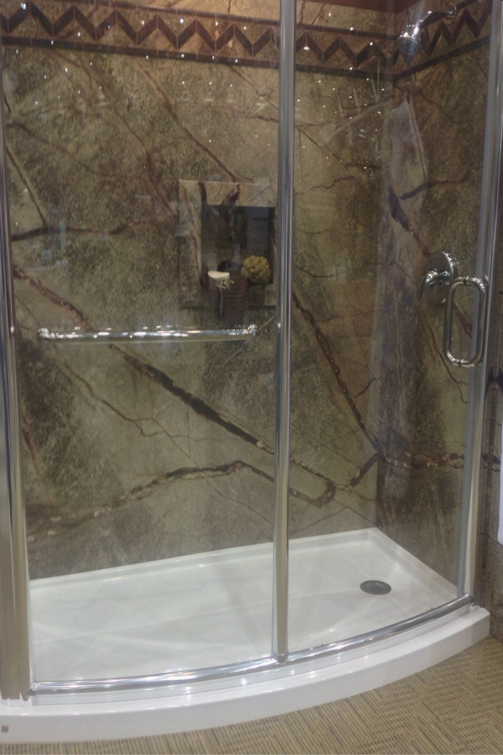 With a DIY shower kit make sure to consider getting a matching glass enclosure with which goes with a shower pan. This curved acrylic shower pan is designed to fit the frameless curved glass wall. Innovate Building Solutions