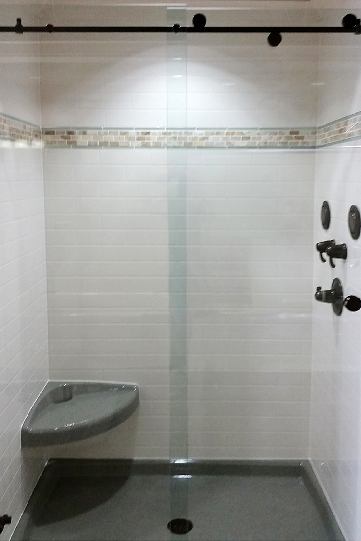 DIY Shower Kits Are Not Complete Without Storage. Recessed Niches In This  Faux Marble Wall