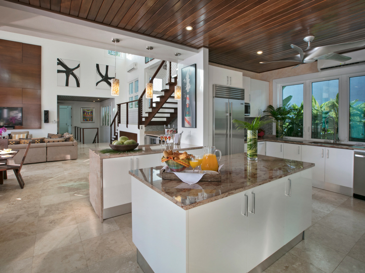 Luxury contemporary living and family rooms in St. Thomas Vacation Home Sand Dollar Hideaway - Innovate Building Solutions