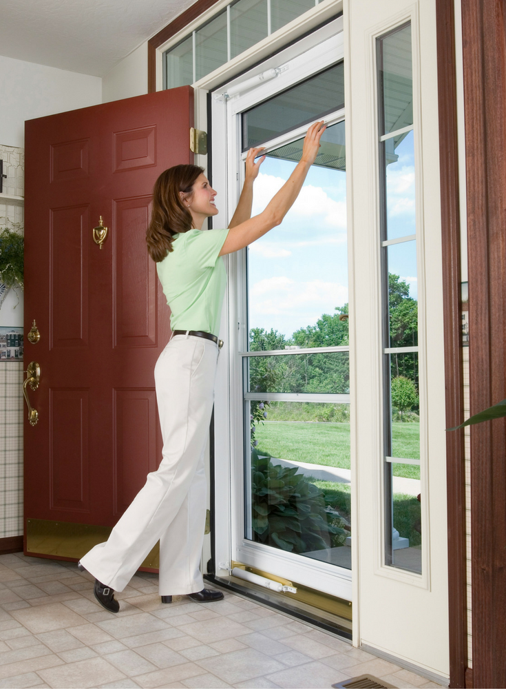 Storm door in Cleveland Ohio with full view glass and a screen - Innovate Building Solutions
