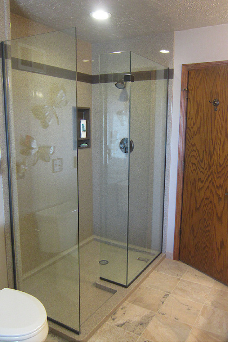 Custom sized cultured marble shower pan and wall system | Innovate Building Solutins
