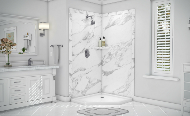 DIY faux stone decorative grout free shower wall panels | Innovate Building Solutions