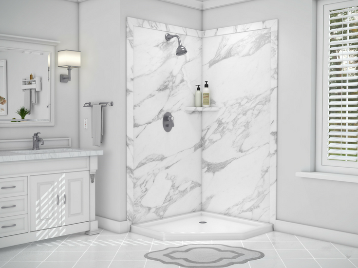 This DIY faux stone wall panels looks like Carrerra marble but at a franction of the cost   Innovate Building Solutions