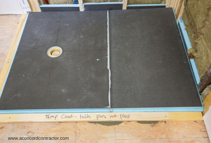 Wedi waterproof ready for tile shower pan system during the installation process | Innovate Building Solutions