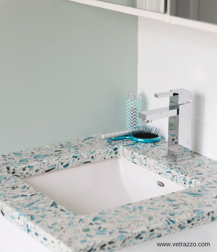 Small recycled glass bathroom vanity countertop | Innovate Building Solutions