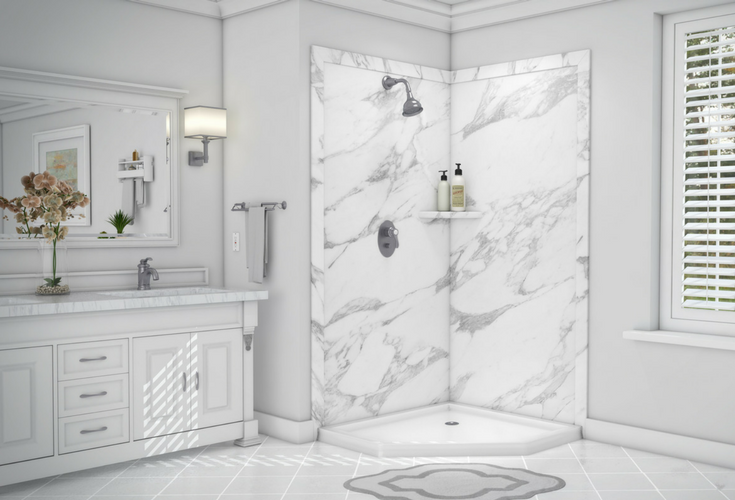 Decorative Faux Stone Custom Shower Wall Panels Can Be Combined With Custom Solid Surface Shower Pans