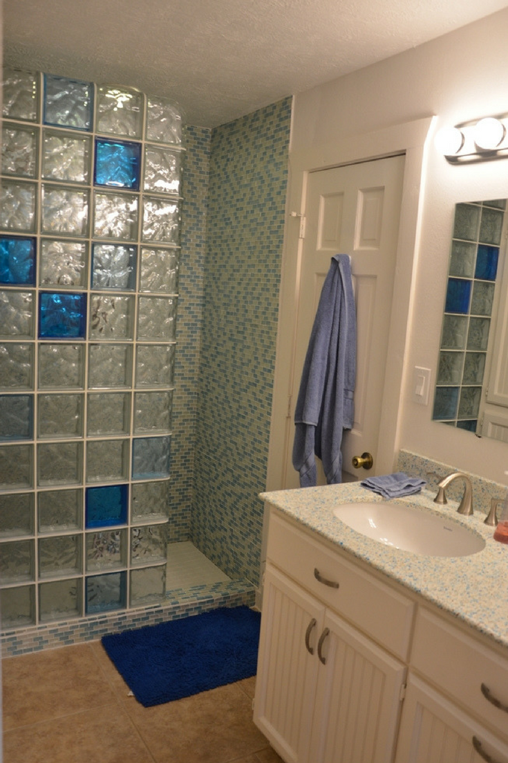A light and dark blue color glass block shower walk in shower wall | Innovate Building Solutions