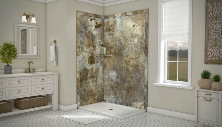 Faux stone DIY wall panels in a corner shower for low maintenance and looks - Innovate Building Solutions