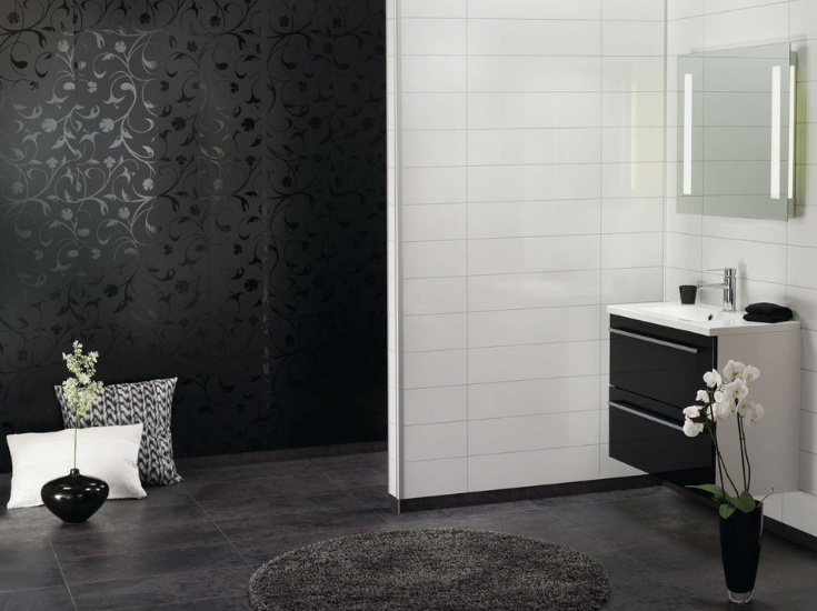 Laminated and waterproof shower wall panels in a black floral shower and a white tile bathroom area