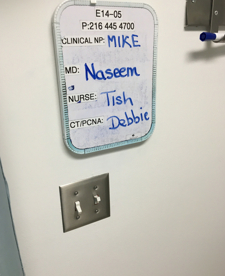 Having fun in the hospital by messing with the signs