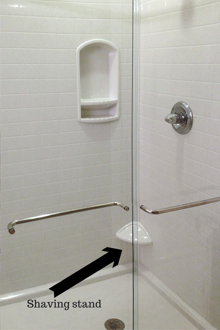 Small leg ledge for shaving in a solid surface subway tile pattern shower system - Innovate Building Solutions