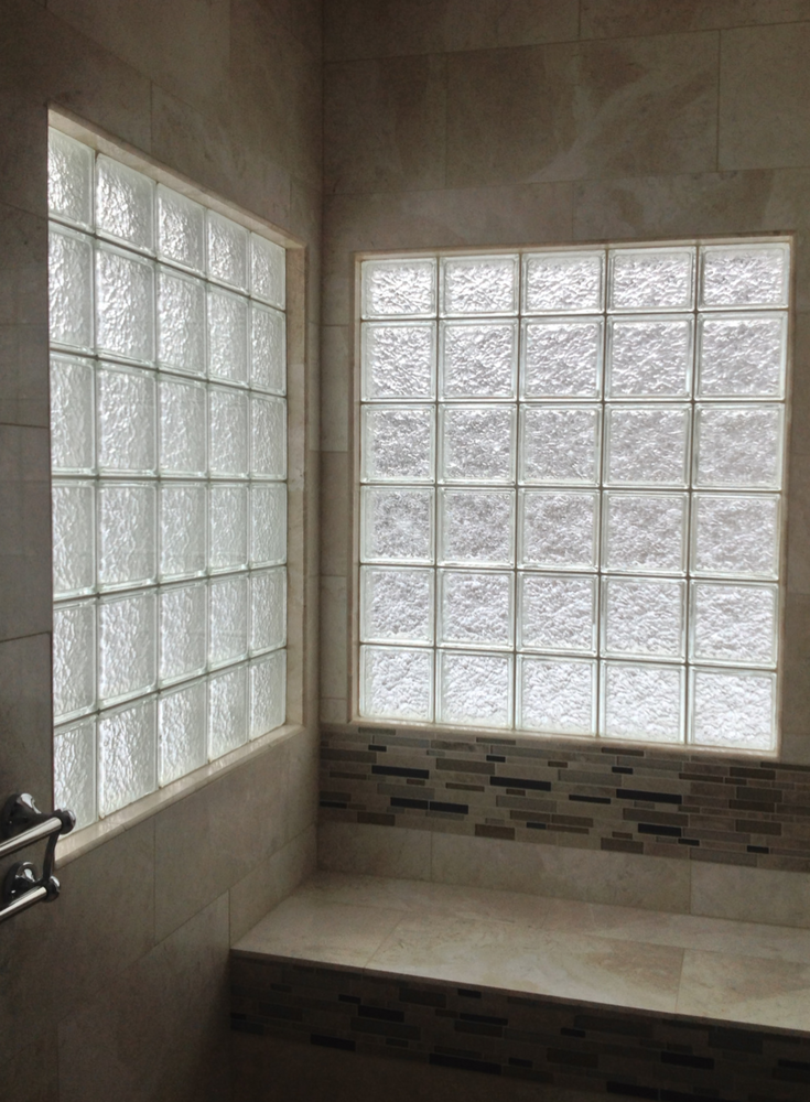 HIgh privacy glass block shower windows with ceramic tile window trim | Innovate Building Solutions