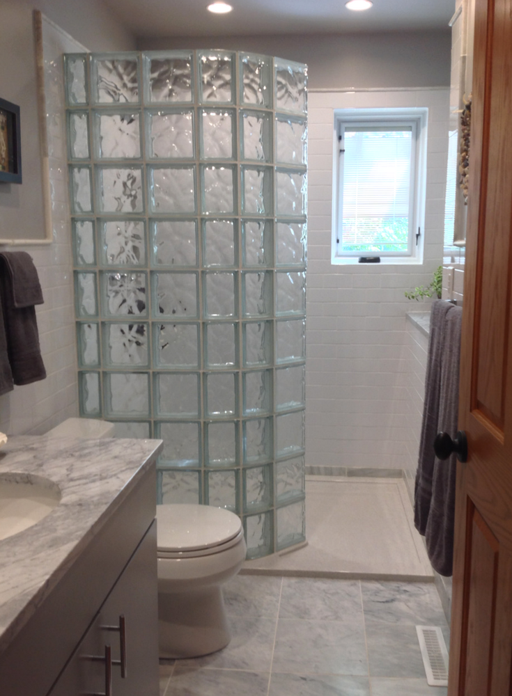 How to select a shape for your glass block shower wall design – walk ...