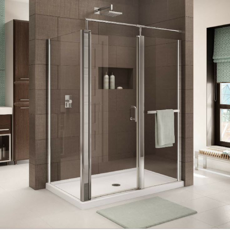 Large format 24 x 12 ceramic tiles in a shower for low maintenance | Innovate Building Solutions