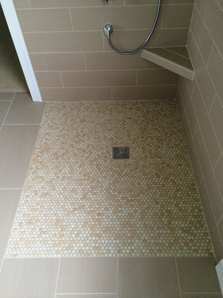Level A Bathroom Floor : Zero threshold shower no curb or dam featuring barrier