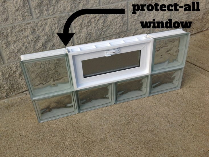"The maximum security ""Protect All"" glass block window with vinyl strips between the blocks for extra strength 