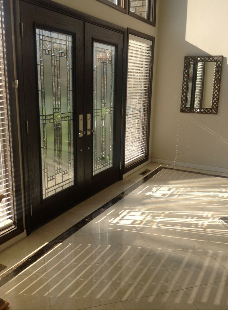 Fiberglass Provia Front Entry Door with Decorative Glass Allows Fun Light Patterns to Stream in! | Innovate Building Solutions