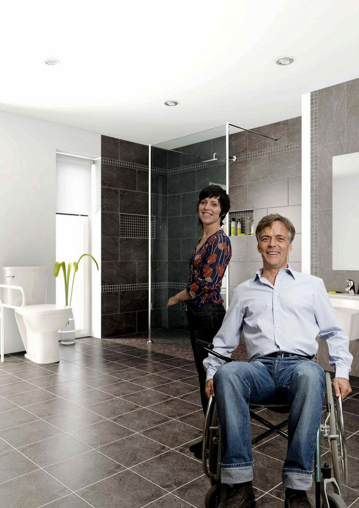 A one level barrier free shower system makes wheelchair accessibilty simple - yet the bathroom can still look stylish! | Innovate Building Solutions