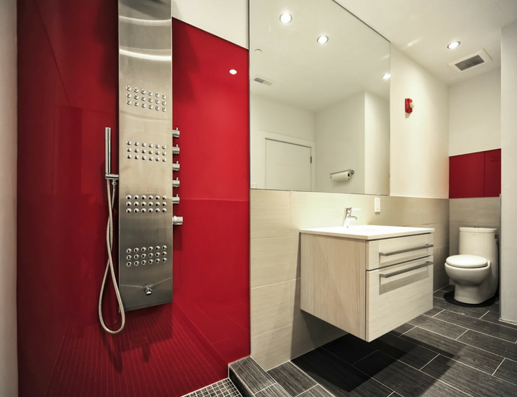 Custom precut fire engine red high gloss shower wall panels in a contemporary bath remodel | Innovate Building Solutions