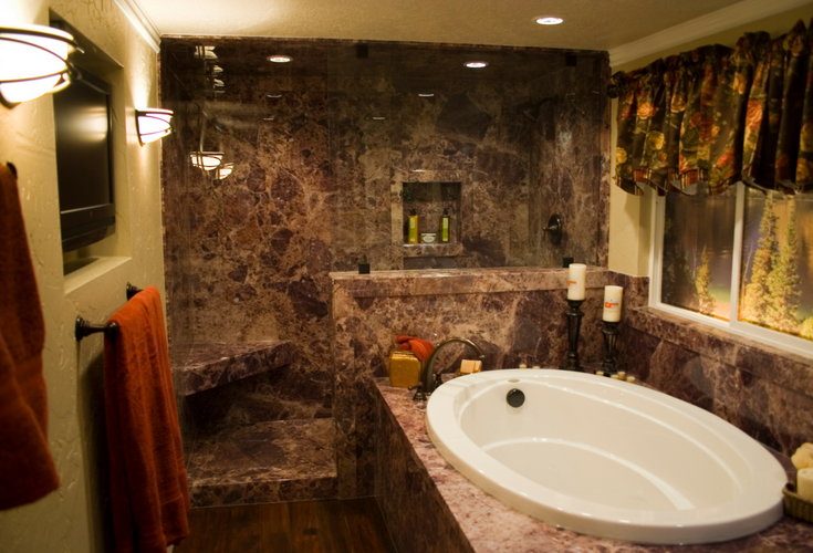 Faux stone PVC composite granite looking grout free shower wall surround panels   Innovate Building Solutions