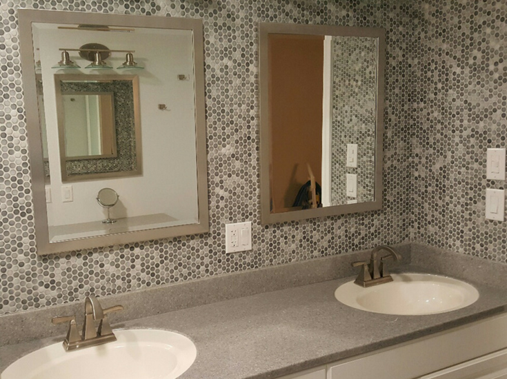 A double bowl solid surface vanity top white bowl color top | Innovate Building Solutions