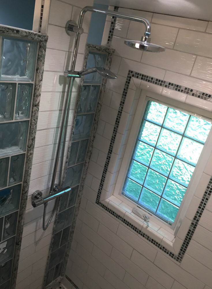Small shower remodeling with an open curved glass block for Acrylic glass block windows