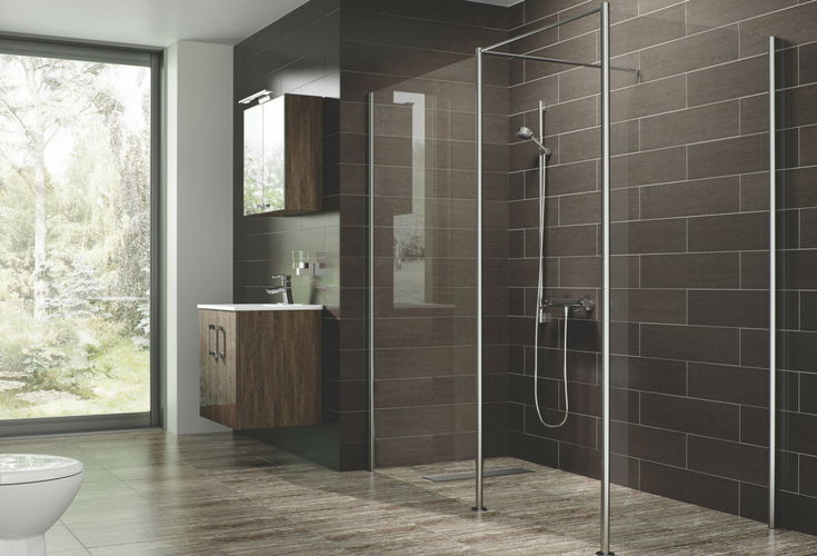 Contemporary barrier free one level shower floor wet room system for accessibility | Innovate Building Solutions