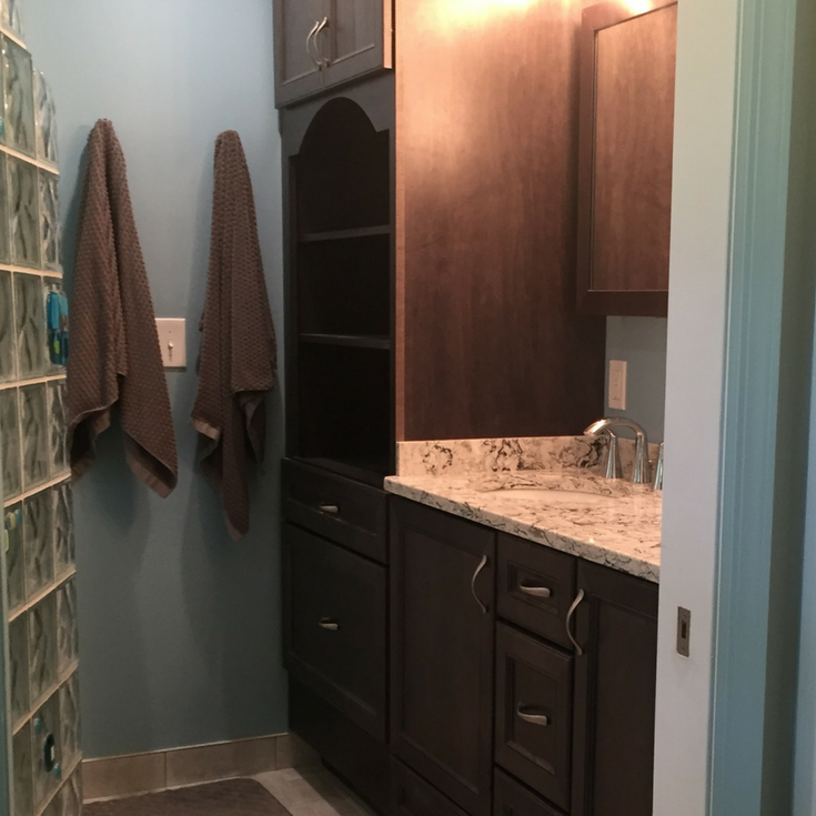 Floor to ceiling bathroom cabinetry in a new jersey bath remodel | Innovate Building Solutions