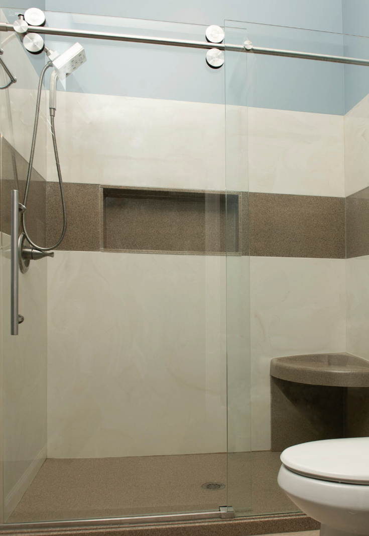 Cultured marble shower pan with a recessed niche | Innovate Building Solutions