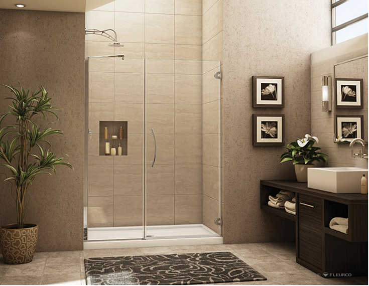 Frameless glass enclosure with chrome hardware and a acrylic shower pan | Innovate Building Solutions