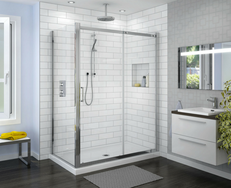 Corner shower enclosure with two sides of glass in a contemporary bathroom - Innovate Building Solutions