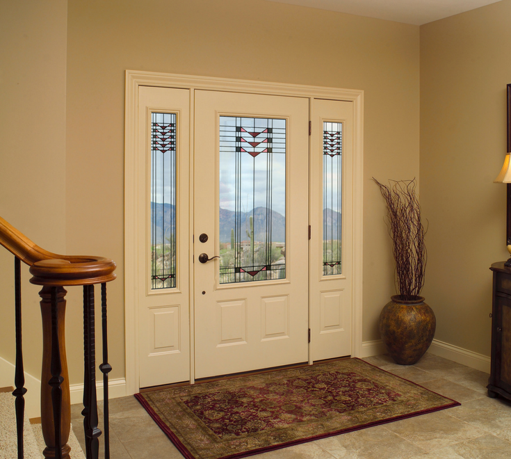 Fiberglass front entry doors with decorative Craftsman style glass and sidelights | Cleveland Window Company and Clear Choice Window - Cleveland and Columbus Ohio