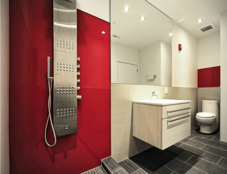 Hot red rouge high gloss acrylic wall panels in a contemporary luxury shower - Innovate Building Solutions