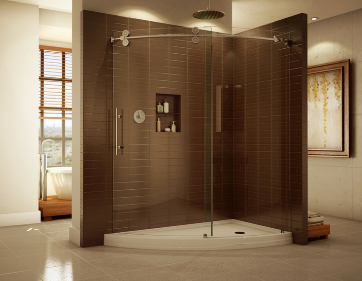 Precurved frameless walk in glass shower enclosure with a matching acrylic shower pan   Innovate Building Solutions