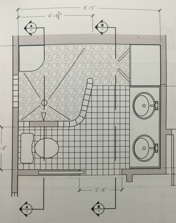 A floor plan for a large glass block shower in a small bathroom - Innovate Building Solutions